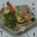 日本料理 鰻割烹  新川 - 焼物                                      天使の海老・もと焼き