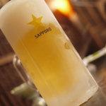 本格焼肉 寿香苑 あまつぼ - キンキンに冷えた生ビール