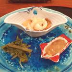 味菜 - 南蛮漬け、わさびの葉、そしてこのわたの通風スペッシャル! おサケガブガブ