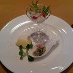 キャノン - 蛸のカルパッチョ、秋田小町のサラダ、ターメリックと白身魚のパテ