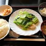 好味苑 - 好味苑 @本蓮沼 チンゲン菜とエビ炒め 300円 + ライスセット 200円(共に税込)