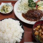 レストラン 西 - 料理写真:ランチハンバーグ定食(ご飯大盛)
