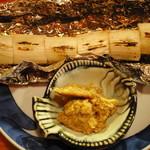 鶴千 - 下仁田ネギのホイル焼き、肉味噌添え