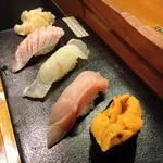 魚道 - 握り4貫(雲丹、金目鯛、平目)