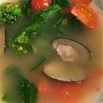 花様 - タテボシ貝とドライトマトとアスパラ菜とタイニーシュシュの酒蒸し