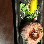 花様 - 菜っ葉と紫蘇漬け梅干しと古代紫黒米の味噌焼きおにぎり