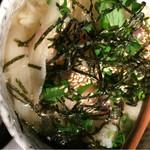 花様 - ビワマス焼き霜と日野野菜と切干大根と三つ葉の胡麻出汁茶漬け