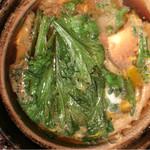 花様 - イサザとプリン豆腐と吉川牛蒡と春菊と青葱のじゅんじゅん