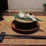 かわ村 - 2016年2月再訪:握リゾット Risotto 真鯛 イタリア産キャビア、細魚 数の子 水菜 大葉☆