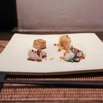 かわ村 - 2016年2月再訪:前菜の盛り合わせ Antipasto Misito 竹の子 自家製カラスミ 真蛸の炙り、蓮根のフリットの甘酢マリネ、椎茸 自家製このこ、鴨のフリッタータ☆