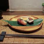 かわ村 - 2016年2月再訪:握リゾット Risotto ノドグロ 赤柚子胡椒、鯖バルサミコ 葱 西洋山葵☆