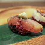 かわ村 - 2016年2月再訪:握リゾット Risotto 鯖バルサミコ 葱 西洋山葵☆