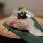 かわ村 - 2016年2月再訪:握リゾット Risotto 真鯛 イタリア産キャビア☆