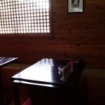 朋 - 卓×2席、木漏れ日風の光で、周りが見えなくて、良い。