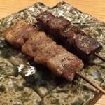 やきとん 喜八 - 平牧三元豚豚バラ塩・チレ