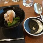 エスパイ クック コウベ - 鱈白子と自家製からすみ野菜のジュレスナップ豌豆添え