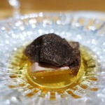 銀座 ひらやま - フォアグラのテリーヌ  トリュフ、コンソメのジュレ  トースト添え