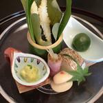 480570 - 前菜 七種(青梅・筍・ちまき・白魚・合鴨・白花豆・カマス)
