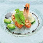 ハーバー ビレッジ - 北海道産帆立貝柱と天使エビのレアソテー バルサミコとアンチョビのソース