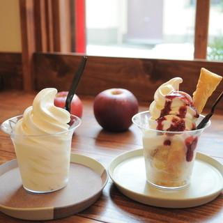 """北海道牛乳の濃厚""""ソフトクリーム""""も人気です♪"""