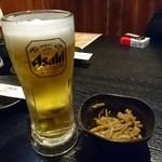 ももんが - ビールとお通しのきんぴらごぼう
