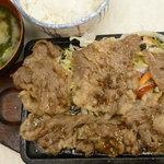 キッチンくりの木 - (日替り定食C)牛バラ肉ステーキソース焼定食 税込850円