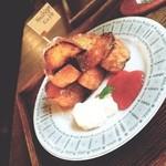 Hashigo Cafe - 洋風フレンチトースト メイプルシロップ+苺ジャム+生クリーム