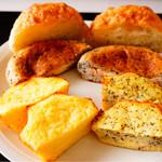 48062416 - 上からオリーブの塩パン、明太子チーズ、豆乳パン、紅茶豆乳パン