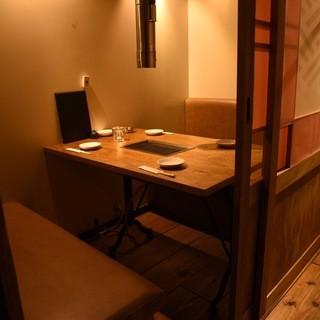 全室個室のゆったりできる空間。