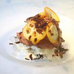リストランテ・ヒロ・チェントロ - ヌガーグラッセとチョコレートのエスプーマ たっぷりの金柑を添えて