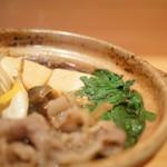 草津亭 - 牛鍋(ぎうなべ)、春菊(しゆんぎく)