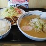 キタカタラーメン麺小町 西宝町店 - タイムランチ700円(喜多方ラーメン味噌・ごはん・チキンカツ)