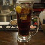ニクアザブ - 今回料理はまずおまかせコース3000円注文後、甘く飲みやすいコーラハイボール500円をごくりと飲み干し