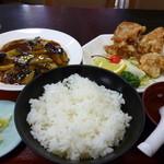 中華料理 哲ちゃん - 料理写真:日替わり マーボー茄子唐揚げセット定食