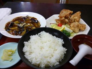 中華料理 哲ちゃん - 日替わり マーボー茄子唐揚げセット定食