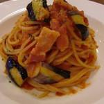 ぷちっく - 厚切りのベーコンと揚げナスのスパゲッティ