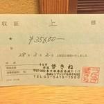 うなぎ 赤坂 勢きね - 領収書