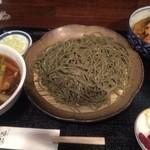 48126950 - 豚きのこ汁の蕎麦(大盛)+野菜天丼【料理】