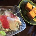 八真人 - 小鉢 刺身と揚げだし豆腐
