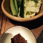 48132589 - お通しの野菜と肉味噌