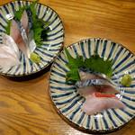 お酒菜やさん - 〆鯖、金目鯛、八角の刺身