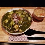 和夢茶Cafe - 『抹茶海鮮焼きそば(スープ付)』(1000円)~♪(^o^)丿