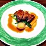 48140608 - 山形県産平牧金華豚のロースト マルサラ酒のソース 温野菜添え