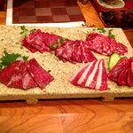 九州料理 球磨家 - 馬刺しの五種盛り