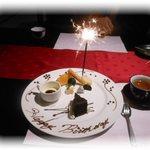 金蘭荘 花山 - お誕生日バージョンのデザートと、みなさまの心のこもったお祝いに感動しました。 2014.10