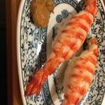 鮨 さるたひこ - 車海老の握りの味噌添え