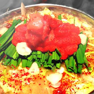 歓送迎会には地鶏つくね付き博多明太子の白湯鍋