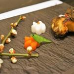 郷土味 かけはし - 焼き物は真鱈の幽庵焼き、添えられた「春」が心を温めます