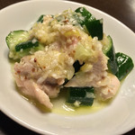 矢場CHINA - 矢場CHINA(愛知県名古屋市中区大須)前菜の盛り合せ〜蒸し鶏とキュウリの塩麹和え