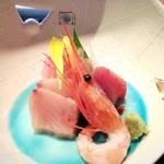 稲繁 - 料理写真:金目鯛・鮪・甘海老・寒ブリのお刺身